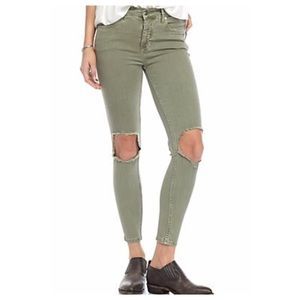 Free People High Rise Busted Knee Skinny Jeans